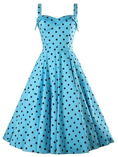 Vintage Sleeveless Sweetheart Neckline Polka Dot Dress For Women