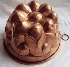 Large Vintage French Handmade Handbeaten Copper Cake Jelly Mold Mould Kitchenalia