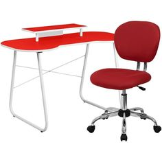 Flash Furniture NAN-8-GG Red Computer Desk with Monitor Stand and Mesh Chair