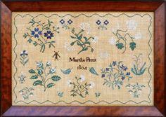 Martha Pettit,  Quaker motif sampler,Chester County, Pennsylvania, 1804