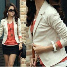 bfbe4677657e7 BlueY Hot Fashion Women Blazer 5 colors slim Coats short designer OL Jacket  Long Sleeve One Button Suit Ladies blasers feminino