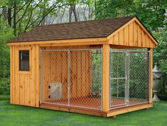 Wish all dogs were protected in a kennel like this if owner must leave them out for periods of time. 8 x 12 Dog Kennel. How To Build An Indoor Outdoor Dog Kennel Insulated Dog Kennels, Dog House Plans, House Dog, Duck House, Large Dog House, Cabin Plans, Dog Runs, Free Dogs, Landscape Designs
