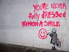 """Hypocrite alive"", by Banksy: ""Why should we have to wear a smile when we get into the crowd. Being the true self is wrong, being fake is the way to survive."""