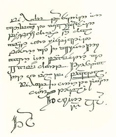 dalpuri:  Thorin's letter to Bilbo/the contract, written in Tengwar by J.R.R. Tolkien [page 2]. Not printed in the original edition of The Hobbit because it was too diffuclt to reproduce.  Thorin and Company to Burglar Bilbo greeting! For your hospitality our sincerest thanks, and for your offer of professional assistance our grateful acceptance. Terms: cash on delivery, up to and not exceeding one fourteenth of total profits (if any); all traveling expenses guaranteed in any event; funeral…