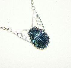 CARNIVAL GLASS SCARAB Necklace Egyptian Revival Beetle SILVER Plated ART DECO #kmeartusa