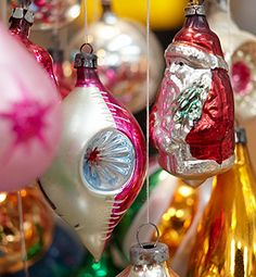 Grandma-style glass baubles - Death-trappy but the most Christmassy sort of Christmas decoration I know of.