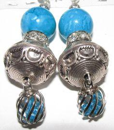 Silver Crystal Pale Blue Bead Silver Shamballa , Silver Bead , and  Blue & Silver Crystal Drop Earrings