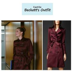 "April 30, 2014 @ 9:30 pm Stana Katic as Detective Kate Beckett in Castle - ""Law & Boarder"" (Ep. 621). Kate's Coat:Burberry Burgundy Trenchcoat sold out. Similar Style for Less:Tommy Hilfiger Double Breasted Trench Coat in Red $180 $99 here 