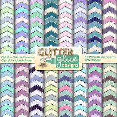 Chevron paper clipart galore! Old Man Winter Chevron Papers are a great way to jazz up your TPT seller products, classroom projects, or simply to print out and use as scrapbook paper for collage work. Old Man Winter Chevron Paper Clip Art w/Glitter include 16 original winter-themed papers inspired papers for commercial and personal use.