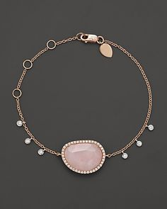 Meira T Pink Opal Rose Gold Bracelet with Diamonds | Bloomingdale's