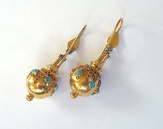 18K Gold Etruscan Earrings - Antique All Gold Victorian era Turquoise Snake Earrings  18K Gold Etruscan Revival Earrings from the UK. In excellent