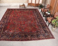 "Persian Red Rug Bohemian Room Wool Turkish Large Rug, 10'6"" x 13'9"", 071004"