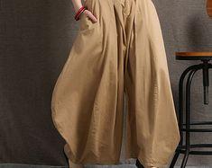 Tan Leinen Hose - weites Bein braun handgefertigte Hose Hose Trending Artikel Sommermode (C412) faulenzen