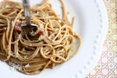 spaghetti carbonara for one -Love the idea of this dish. Will try another type of pasta and turkey bacon.