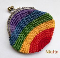 Rainbow Framed Coin Purse Change Purse Kiss Clasp Purse Crochet Money Pouch 2 SHAPES Niatta