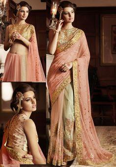 Peach Designer Net Saree with Blouse   US$145   Shop It Here: http://www.sareegalaxy.com/women/sarees/peach-net-saree-with-blouse-saho56-sg