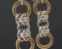 Silver 14k Yellow and/or Rose Goldfilled Chainmaille Earrings, Chainmail Jewelry, Mixed Metals Chain Earrings, Silver Chain Earrings