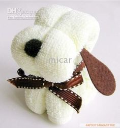 Snoopy wash cloth dogs - would make and adorable gift favour