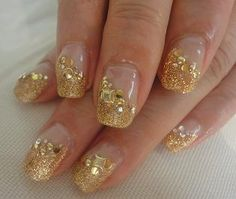 Gold and White Wedding. Manicure, Pedicure, Nails. Yellow Gold.