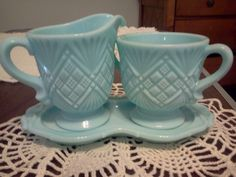 Vintage Fostoria Aqua Blue Milk Glass Cream & Sugar w/Tray #Fostoria