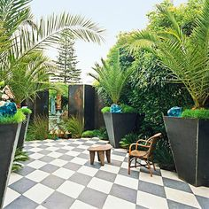 Use Containers  Use Containers    Big, bold container gardens are ideal for creating privacy, especially if you have a small space such as a deck or patio. Plus you can find containers and plants to fit any landscape style. Here, large metal containers hold majestic palms for a modern look.