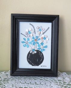 Original Pebble Art Picture BLUE and WHITE by LakeshorePebbleArt