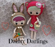 Felt Dainty Darling Doll - Collectable Kitten or Bunny- Made To Order