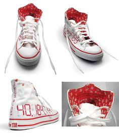 Shoe I hand stitched Artwork to Converse for Support for JoinRed (aids awareness): http://www.designverb.com/2010/08/01/converse-joinred-project/