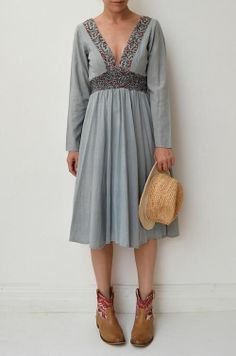 REBECCA THOMPSON Floral Print Cotton Long Sleeve Boho Festival Dress 2 8/10 $329