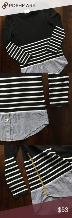 """Band of outsiders • striped pullover Band of outsiders • striped pullover with a button-up shirt attached at the bottom • yellow zipper up the side • tag does have some fraying, but otherwise great condition • all measurements were taken flat and are approximate: pit to pit 15.5"""" 