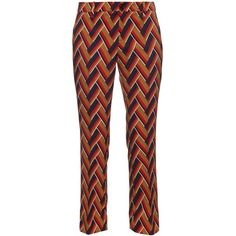 Gucci Chevron-print kick-flare trousers (5.660 BRL) ❤ liked on Polyvore featuring pants, trousers, multi, flare trousers, gucci, chevron pants, metallic gold pants and retro pants