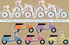 Printable Vespa Stickers & Bicycle Stickers By Marcy Coate