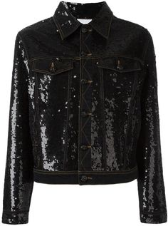 Designer Clothes, Shoes & Bags for Women Jeans Sequins, Sequin Jeans, Sequin Jacket, Black Sequins, Cotton Jacket, Girl Outfits, Jackets For Women, Leather Jacket, Black Denim