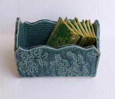 Ceramic Slab Built Handmade ceramic box Lacy Antique by sumiko2
