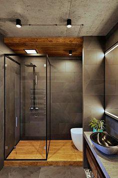 Modern Apartment Bathroom: A Contemporary Apartment For A Single Man In Moscow Apartment Bathroom Design, Zeitgenössisches Apartment, Modern Apartment Decor, Contemporary Apartment, Apartment Interior, Bathroom Interior Design, Modern Interior Design, Bathroom Designs, Bathroom Ideas