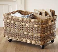 "1. pottery barn online only: width: 25""; depth: 16.5""; height: 15""- Jacquelyne Recycling Bin Basket ($89)"