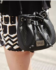 For all of the essentials: The Fire Drill Bucket Bag. Vans Girls, Vans Style, Back To Black, What I Wore, Bucket Bag, Purses And Bags, Cool Outfits, Fire Drill, Fancy