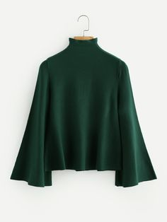 Shop Mock Neck Flare Sleeve Jersey Jumper online. SheIn offers Mock Neck Flare Sleeve Jersey Jumper & more to fit your fashionable needs.