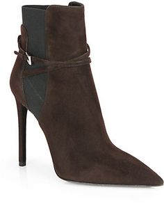 Prada Suede Point-Toe Ankle Boots