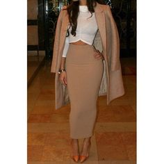 Solid Color High-Waisted Pencil Skirt