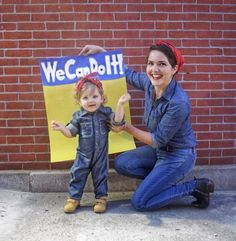 Rosie the Riveter DIY costume ; mother daughter Rosie the Riveter costume Best Toddler Halloween Costumes, Mother Daughter Halloween Costumes, Toddler Girl Halloween, Mom Costumes, Toddler Costumes, Halloween Kids, Rosie The Riveter Costume, Parenting, Holidays
