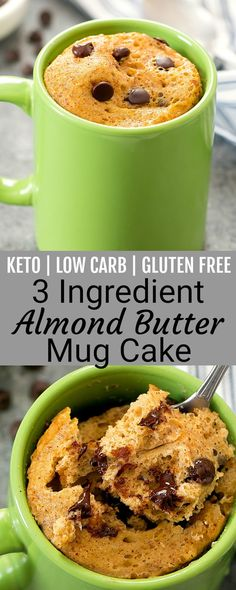 3 Ingredient Keto Almond Butter Mug Cake 3 Ingredient Keto Almond Butter Mug Cake. An easy single serving dessert that is low carb, gluten free and keto friendly. It cooks in the microwave and is ready in about 5 minutes. Healthy Low Carb Recipes, Low Carb Desserts, Keto Recipes, Party Desserts, Healthy Desserts, Keto Snacks, Shrimp Recipes, Keto Cookies, Cookies Et Biscuits