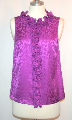 Marc by Marc Jacobs Purple Silk Jacquard Back Button Sleeveless Blouse
