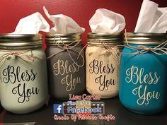 Mason Jar Tissue Holder Bless You