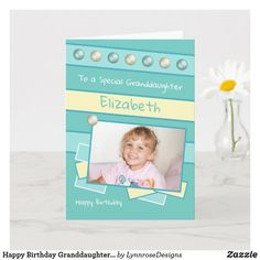 Happy Birthday Granddaughter turquoise photo Card Birthday Greeting Cards, Custom Greeting Cards, Birthday Greetings, Happy Birthday, Holiday Cards, Christmas Cards, Christmas Card Holders, Photo Cards, Thoughtful Gifts