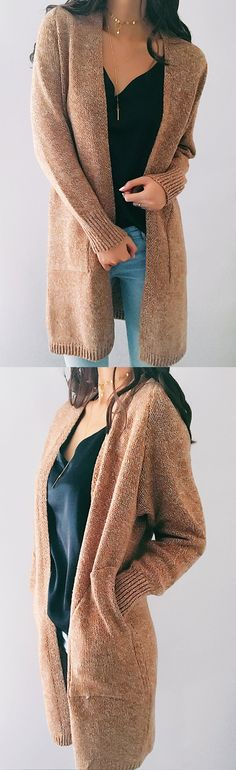 $44.99! Chicnico Street Casual Knit Solid Color Open Collar Cardigan Get ready for Fall fashion! Find fashionable outfits for the new