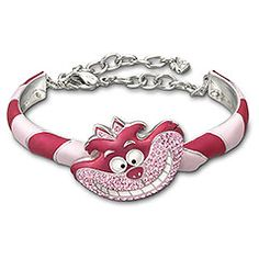 Alice-Cheshire Cat Bangle, Rhodium Shiny/Pink, M, Swarovski Cheshire Cat Alice In Wonderland, Alice In Wonderland Party, Silver Bracelets, Silver Rings, Chesire Cat, Disney Couture, Disney Jewelry, Through The Looking Glass, Bracelets