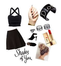 """""""in love with black"""" by juromi on Polyvore featuring Tory Burch, Forever 21, Yves Saint Laurent, Tattify, Lulu*s and Christian Dior"""