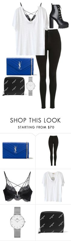 """Untitled #943"" by petitaprenent ❤ liked on Polyvore featuring Yves Saint Laurent, Topshop, For Love & Lemons, American Vintage, Daniel Wellington, Balenciaga and amei"