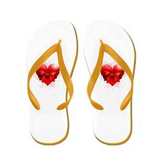 4f53c48edb50e Truly Teague Womens Heart with Red Bow Orange Rubber Flip Flops Sandals  11512  gt  gt